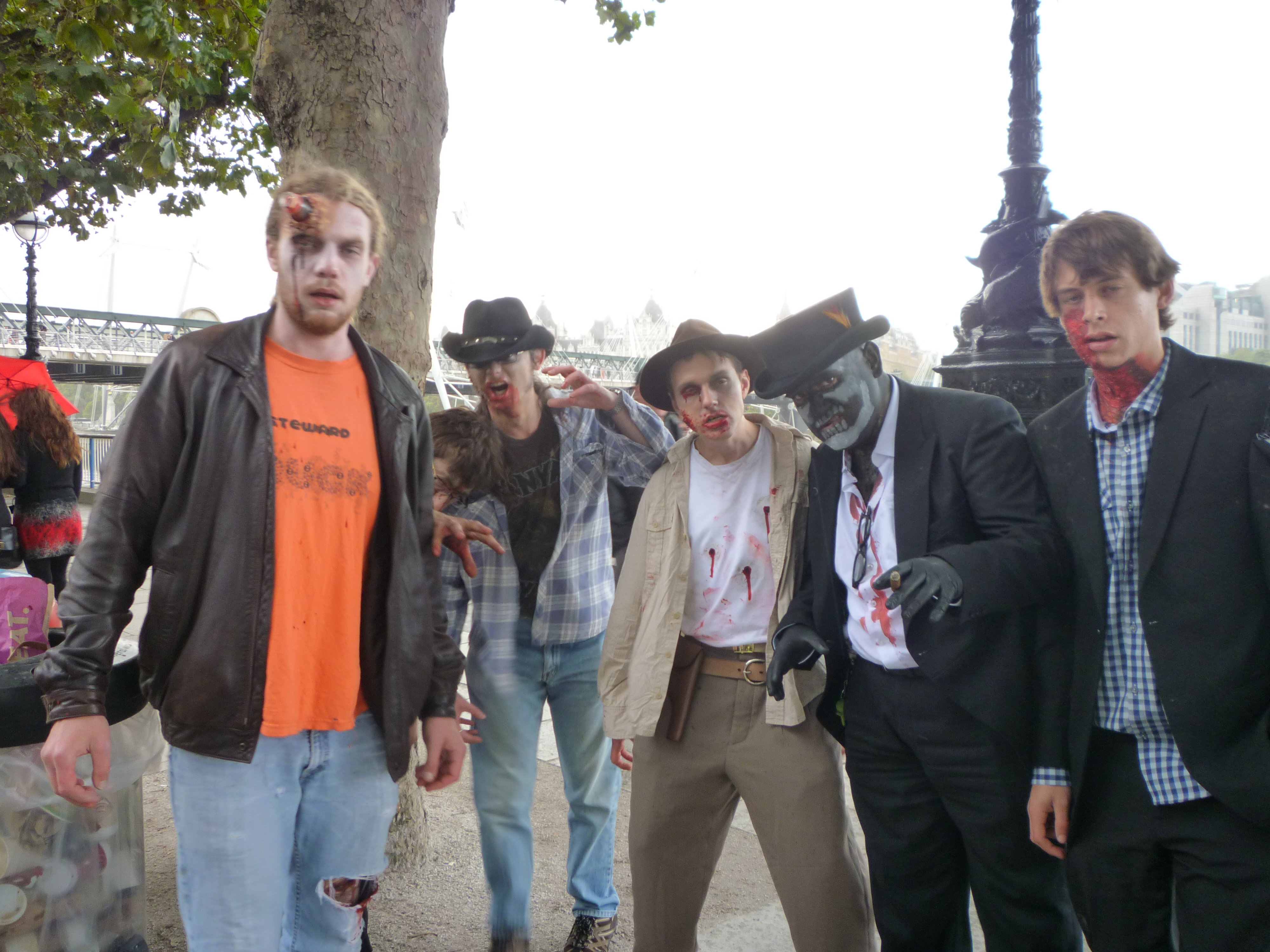 World Zombie Day in London - check the glass on the guy´s head