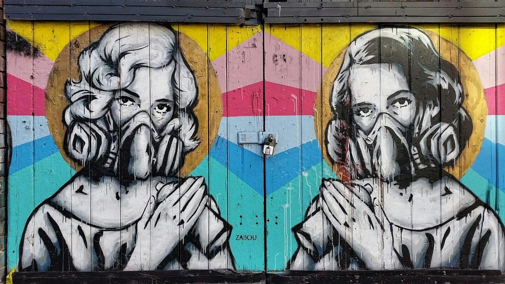 Masked ladies street art