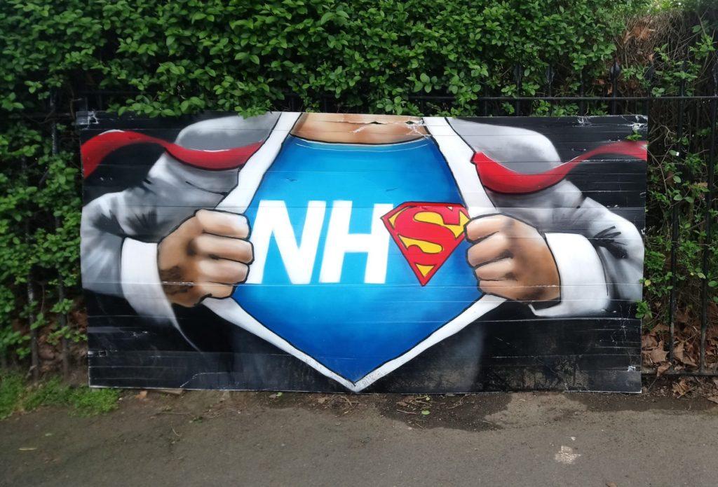 NHS super heroes street art by Lionel Stanhope