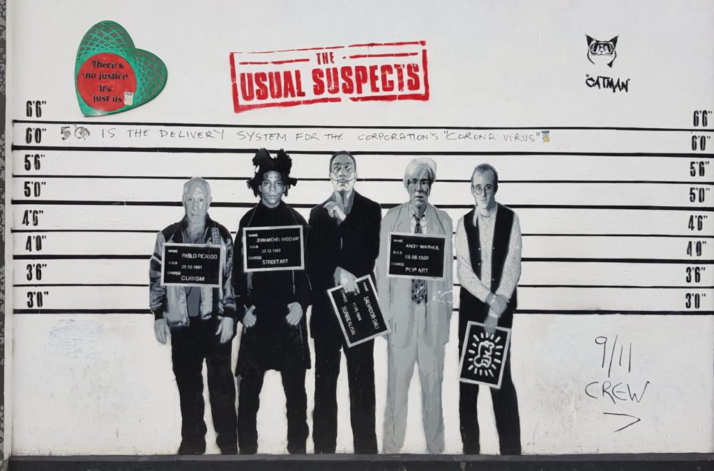 The usual suspects street art piece Notting Hill