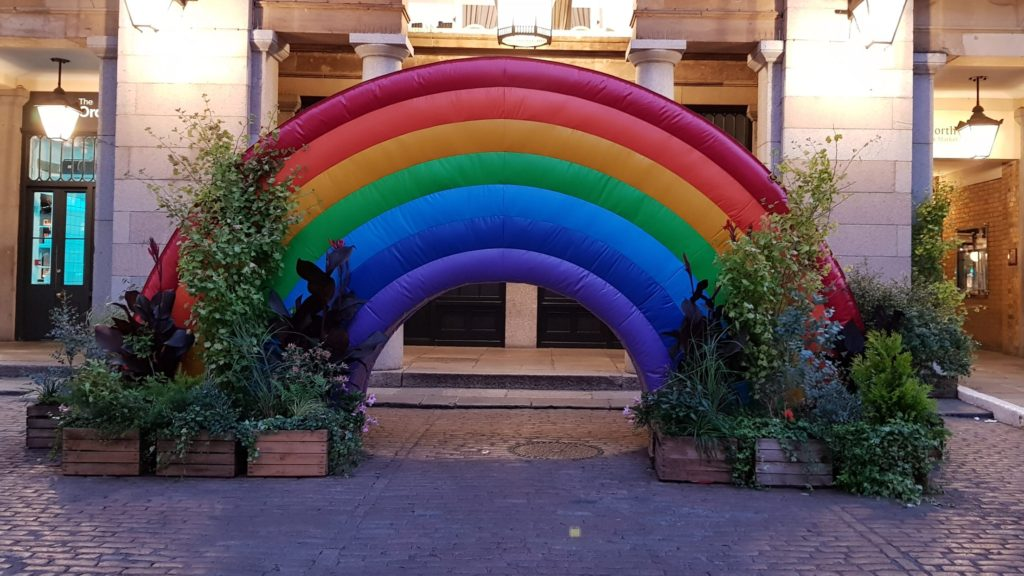Rainbow in Covent Garden during pandemic